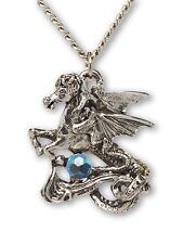 Pegasus With Blue Faceted Crystal Ball Silver Finish Necklace NK-420