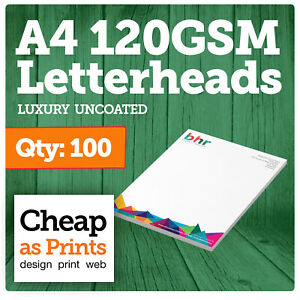 100 A4 Letterheads  120gsm Premium Paper   Cheap Business Letterhead Printing