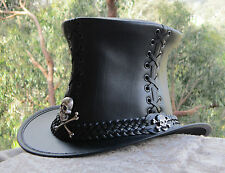 BLACK LEATHER STEAMPUNK GOTHIC  CORSET MENS & WOMENS TOP HAT W. CROSSBONE BADGES
