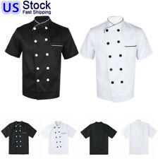 Us - Chef Coat Jacket Unisex Kitchen Short Sleeve Cooker Work Restaurant Uniform