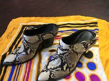Rebecca Minkoff Lady Snakeskin Embossed Brown Leather Mules 9.5M