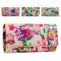 Damas Floral Perla Caja Clutch Bag Bolsa Bolso De Mano Fiesta Noche Flor 3D KTL2096