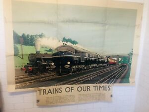 """GENUINE BR POSTER TRAINS OF OUR TIMES 10000 & 10001 & BLACK 5 LOCOS 50""""x 40"""""""