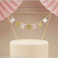 Gold & Pink Cake Bunting Topper Birthday Wedding Pastel Perfection decor