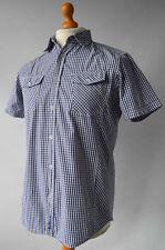 Men's Blue Checked Ben Sherman Short Sleeved Shirt Size M, Medium.