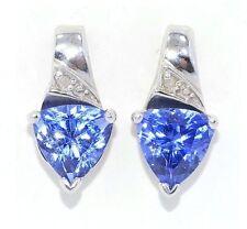 3 Ct Tanzanite & Diamond Trillion Stud Earrings .925 Sterling Silver
