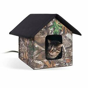 K&H PET PRODUCTS Outdoor Heated Kitty House Cat Shelter Realtree Edge Camo 18...