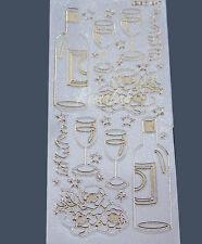 Adesivi stickers brindisi champagne bicchieri festa bianchi per SCRAPBOOKING