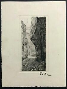 ETCHING French ~ ENNERIE ALEXANDRE FEHER ~ 1920s Scene MONTMARTRE PARIS