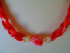 3 Strand Natural Pink Angel Skin Coral Necklace BIG Twist Carved Bead & Branches