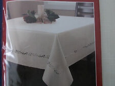 "Essential Home Polyester Easy Care Tablecloth Off White Holly Cutouts 70"" Round"