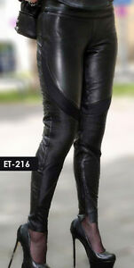 Genuine Soft Lambskin Leather Quilted Design Legging