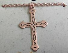 "Copper Pendant Cross 18"" Chain Necklace Wheeler Healing Arthritis Pain cn 020"