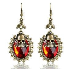 Vintage Gothic Skull Skeleton Lady RED Rhinestone Pendant Earrings Party jewelry