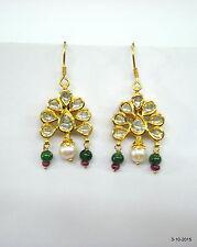 18kt gold earrings polki diamond gemstone earrings meena work earrings