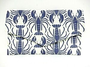 Sea Bags Maine Lobster Print Envelope Clutch Purse White/Blue Recycled Sails EUC