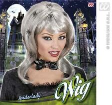 Lunghe argento WITCH SPIDER LADY PARRUCCA HALLOWEEN FANCY DRESS