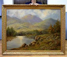 Huge Fine Antique 19th Century Landscape Oil Painting Stag in Scottish Highlands