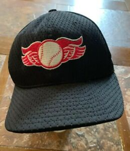 BASEBALL MILB HAT CAP BLACK   ROCHESTER RED WINGS  SPREAD WING LOGO  Fitted