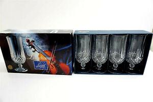 "Set of 4 LONGCHAMP CRISTAL D'ARQUES Iced Tea 7"" Glasses 12 oz J G DURAND France"