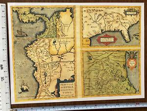 Antique Old Vintage MAP 1500's: Florida, Guasteca, Peru: America 1584: Reprint