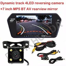 """7"""" inch mirror BT MP5 + 4LED Car Track Dynamic Trajectory Rearview CCD Camera"""