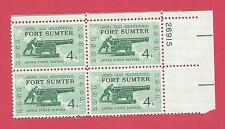 U.S. SCOTT 1178 MNH 4 CENT PLATE BLOCK OF 4 - 1961 - FORT SUMTER