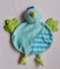 TOPOLINO HUHN HAHN KÜKEN blau grün Schmusetuch Schnuffeltuch Kuscheltuch wie NEU