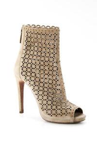Prada Womens Suede Laser Cut Peep Toe Boots Beige Size 38 8