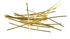 100 Gold Plated Head Pins 21 Gauge 2.5 Inch Headpins