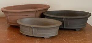"Set of 3 Oval Unglazed Bonsai Pots. A:9.5"" B:8.5"" C:7.5"""
