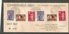 Belgium 1947 commemorative flight cover poste aerienne luchtpost overprints - NY