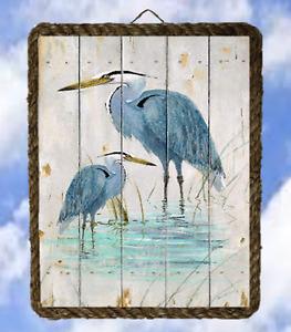 Ocean Lake 27 Two Blue Heron fishing Wall Signs Home Decor Art Prints lalarry