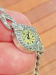 Women's VERY RARE 1930's MARCASITE .925 SILVER SWISS PEIRTPONT 17J Wrist Watch