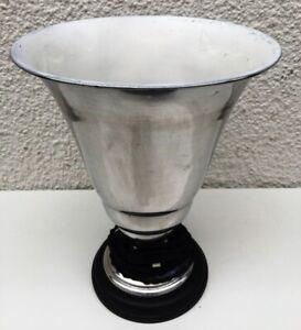 Antik Art Deco Tischlampe Standlampe Poliertes Aluminium Holz France 1930!