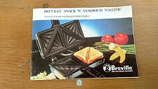 BREVILLE SNACK 'N' SANDWICH TOASTER booklet