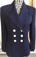 Halston Double Breasted Blazer Suit Jacket White Buttons Lined Navy Size 8