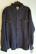 NWT Dickies Men's Solid Long Sleeve Flannel Shirt 2XL Black SNAP FRONT  #2701216