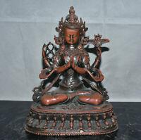 """8.4 """" Tibétain cuivre bouddhisme bouddhisme 4 bras Chenrezig Bouddha Sculpture"""