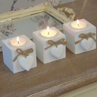 Set of three white tea light candle holder shabby vintage chic table accessory