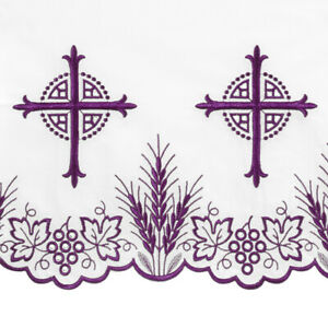 """Purple Embroidered Bread of Life Altar Frontal 50"""" x 96"""""""