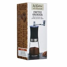 Coffee Bean Grinder Manual Hand Operated Glass Base Le'Xpress Boxed 20cm