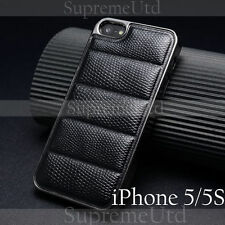 Snake Patterned Leather iPhone 5 5S Back Case Thin Generic Black Cover Metallic