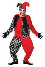 Rojo y Negro Evil Jester Horror Halloween Disfraz Elaborado Vestido Talla L-XL P9350