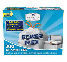 200 Trash Garbage Tie Drawstring Bag TALL KITCHEN 13 gallon WHITE Simple Fit Can