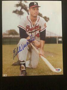 Eddie Mathews Signed Autographed Photo PSA - Milwaukie / Atlanta Braves HOF 78