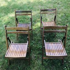 Vintage Mid Century Wood Folding Chair Danish Modern  MCM Romania Set Of 4