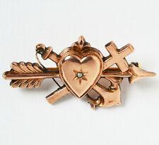 Antike Brosche Silber rotvergoldet Saatperle 1860/1880 Glaube Liebe Hoffnung