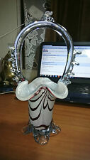 Art Glass Italian Venetian Murano Sommerso White & Brown Glass Vase Basket