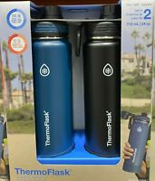 ThermoFlask Vacuum Sealed Mug 24oz 2pk (Black/Blue). 24 Hrs Cold And 12 Hrs Hot.